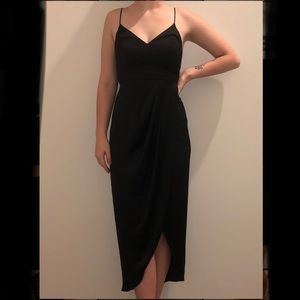 Express Long Black Satin Wrap Front Dress